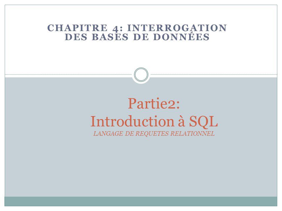 Partie2: Introduction à SQL LANGAGE DE REQUETES RELATIONNEL CHAPITRE 4: INTERROGATION DES BASES DE DONNÉES