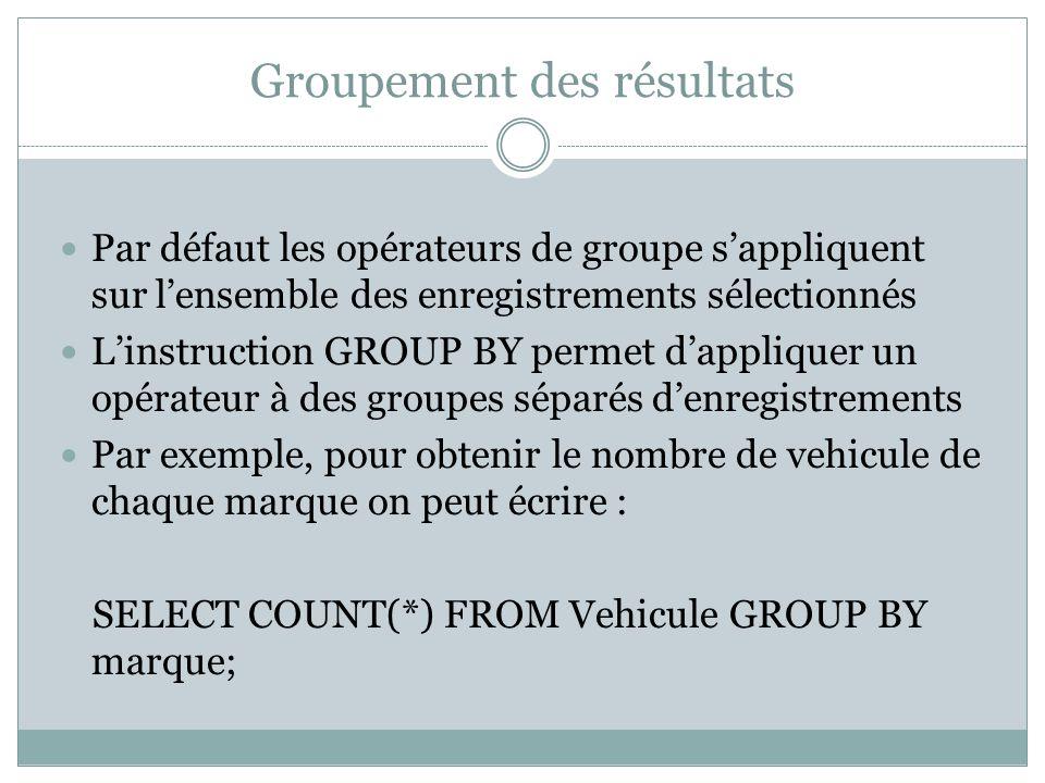Groupement des résultats Par défaut les opérateurs de groupe s'appliquent sur l'ensemble des enregistrements sélectionnés L'instruction GROUP BY permet d'appliquer un opérateur à des groupes séparés d'enregistrements Par exemple, pour obtenir le nombre de vehicule de chaque marque on peut écrire : SELECT COUNT(*) FROM Vehicule GROUP BY marque;
