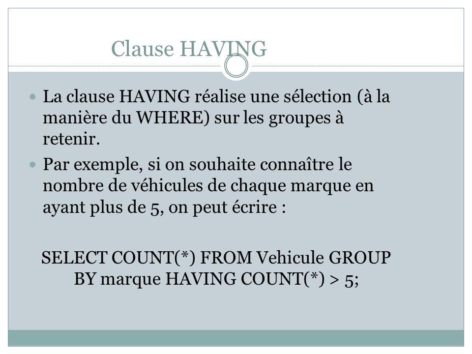Clause HAVING La clause HAVING réalise une sélection (à la manière du WHERE) sur les groupes à retenir.