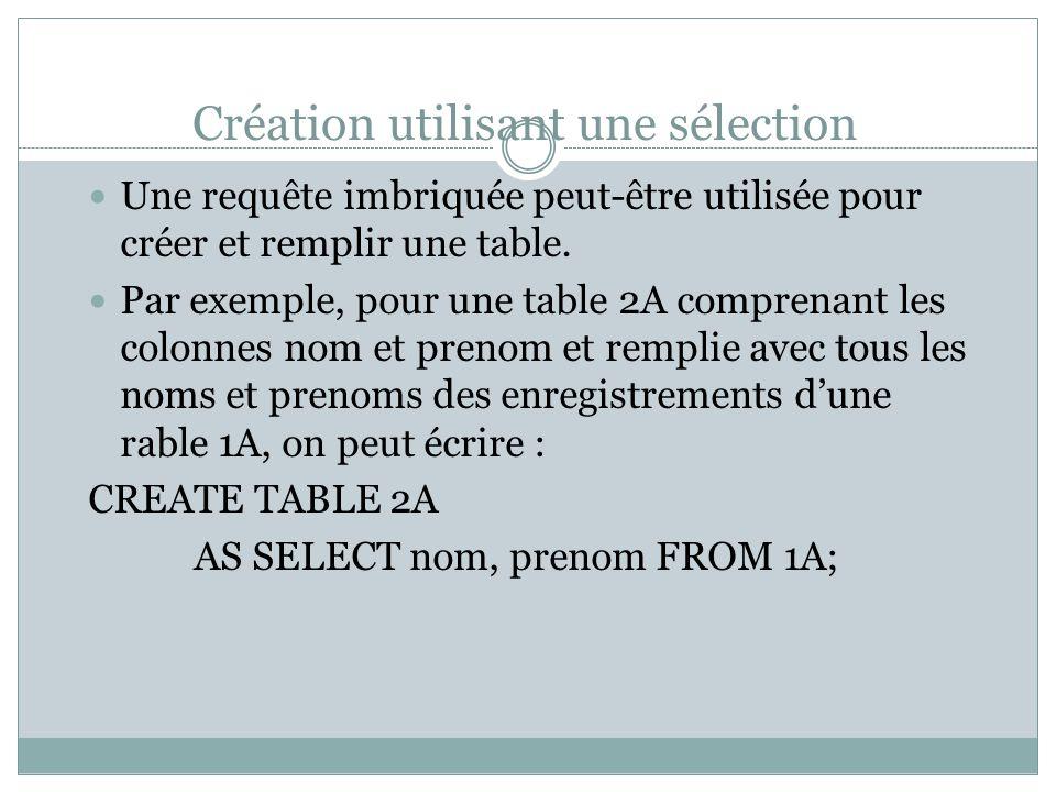 Création utilisant une sélection Une requête imbriquée peut-être utilisée pour créer et remplir une table.