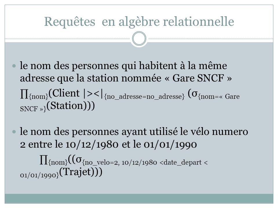 Requêtes en algèbre relationnelle le nom des personnes qui habitent à la même adresse que la station nommée « Gare SNCF » ∏ {nom} (Client |><| {no_adresse=no_adresse} (σ {nom=« Gare SNCF »} (Station))) le nom des personnes ayant utilisé le vélo numero 2 entre le 10/12/1980 et le 01/01/1990 ∏ {nom} ((σ {no_velo=2, 10/12/1980 <date_depart < 01/01/1990} (Trajet)))