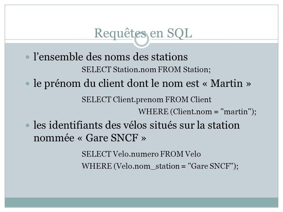 Requêtes en SQL l'ensemble des noms des stations SELECT Station.nom FROM Station; le prénom du client dont le nom est « Martin » SELECT Client.prenom FROM Client WHERE (Client.nom = martin ); les identifiants des vélos situés sur la station nommée « Gare SNCF » SELECT Velo.numero FROM Velo WHERE (Velo.nom_station = Gare SNCF );