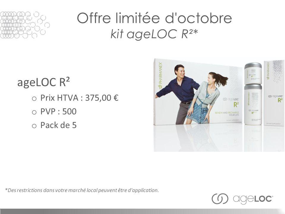 Offre limitée d octobre kit ageLOC R²* ageLOC R² o Prix HTVA : 375,00 € o PVP : 500 o Pack de 5 *Des restrictions dans votre marché local peuvent être d application.