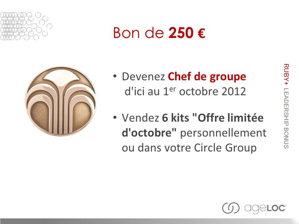 Devenez Chef de groupe d ici au 1 er octobre 2012 Vendez 6 kits Offre limitée d octobre personnellement ou dans votre Circle Group Bon de 250 €