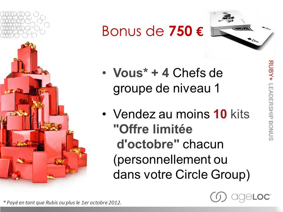 Bonus de 750 € Vous* + 4 Chefs de groupe de niveau 1 Vendez au moins 10 kits Offre limitée d octobre chacun (personnellement ou dans votre Circle Group) * Payé en tant que Rubis ou plus le 1er octobre 2012.