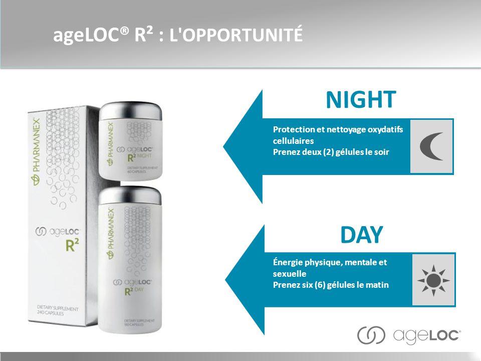 Protection et nettoyage oxydatifs cellulaires Prenez deux (2) gélules le soir NIGHT Énergie physique, mentale et sexuelle Prenez six (6) gélules le matin DAY ageLOC R 2 ageLOC® R² : L OPPORTUNITÉ