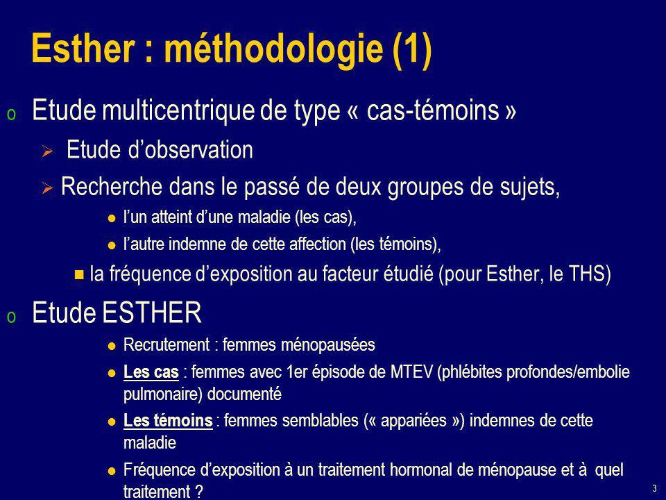 3 Esther : méthodologie (1) o Etude multicentrique de type « cas-témoins »  Etude d'observation  Recherche dans le passé de deux groupes de sujets, l'un atteint d'une maladie (les cas), l'autre indemne de cette affection (les témoins), la fréquence d'exposition au facteur étudié (pour Esther, le THS) o Etude ESTHER Recrutement : femmes ménopausées Les cas : femmes avec 1er épisode de MTEV (phlébites profondes/embolie pulmonaire) documenté Les témoins : femmes semblables (« appariées ») indemnes de cette maladie Fréquence d'exposition à un traitement hormonal de ménopause et à quel traitement