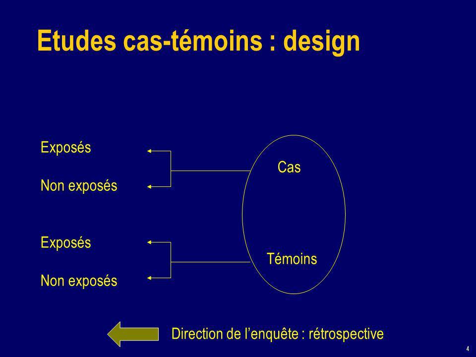 4 Etudes cas-témoins : design Exposés Non exposés Exposés Non exposés Cas Témoins Direction de l'enquête : rétrospective