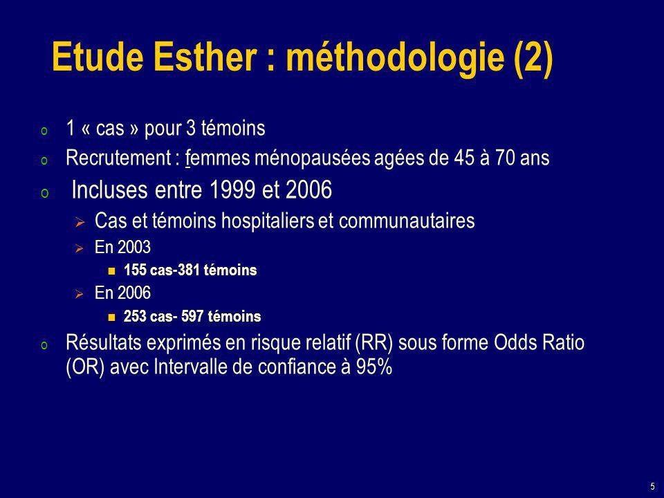 5 Etude Esther : méthodologie (2) o 1 « cas » pour 3 témoins o Recrutement : femmes ménopausées agées de 45 à 70 ans o Incluses entre 1999 et 2006  Cas et témoins hospitaliers et communautaires  En 2003 155 cas-381 témoins  En 2006 253 cas- 597 témoins o Résultats exprimés en risque relatif (RR) sous forme Odds Ratio (OR) avec Intervalle de confiance à 95%
