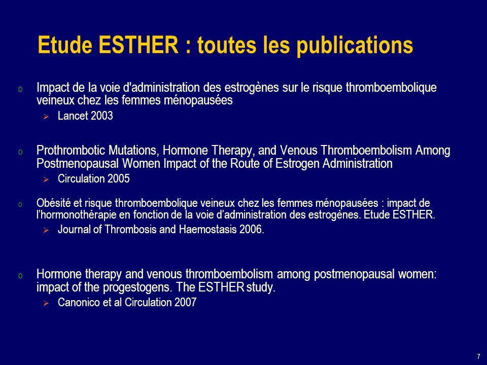 7 o Impact de la voie d administration des estrogènes sur le risque thromboembolique veineux chez les femmes ménopausées  Lancet 2003 o Prothrombotic Mutations, Hormone Therapy, and Venous Thromboembolism Among Postmenopausal Women Impact of the Route of Estrogen Administration  Circulation 2005 o Obésité et risque thromboembolique veineux chez les femmes ménopausées : impact de l'hormonothérapie en fonction de la voie d'administration des estrogènes.