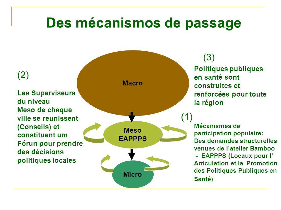 Micro Meso EAPPPS Macro Des mécanismos de passage Mécanismes de participation populaire: Des demandes structurelles venues de l'atelier Bamboo - EAPPPS (Locaux pour l' Articulation et la Promotion des Politiques Publiques en Santé) Les Superviseurs du niveau Meso de chaque ville se reunissent (Conseils) et constituent um Fórun pour prendre des décisions politiques locales Politiques publiques en santé sont construites et renforcées pour toute la région (1) (3) (2)