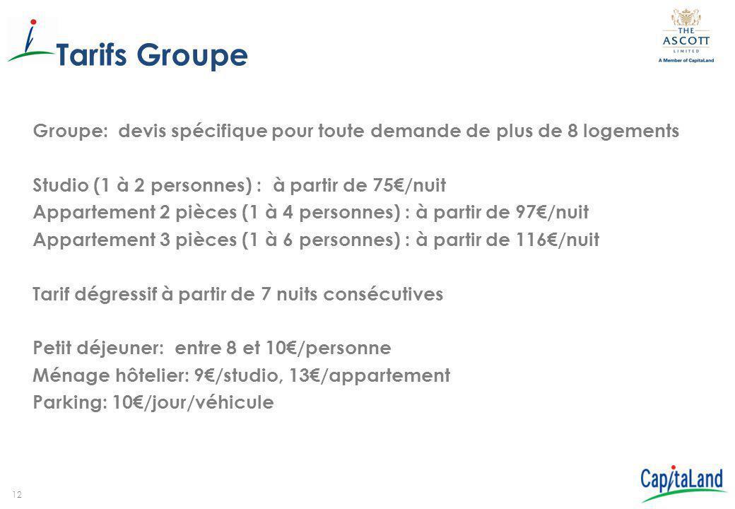 12 Tarifs Groupe Groupe: devis spécifique pour toute demande de plus de 8 logements Studio (1 à 2 personnes) : à partir de 75€/nuit Appartement 2 pièc