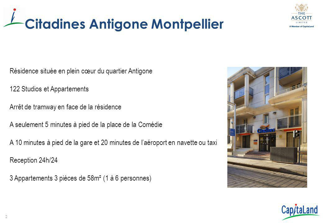 2 Citadines Antigone Montpellier Résidence située en plein cœur du quartier Antigone 122 Studios et Appartements Arrêt de tramway en face de la réside