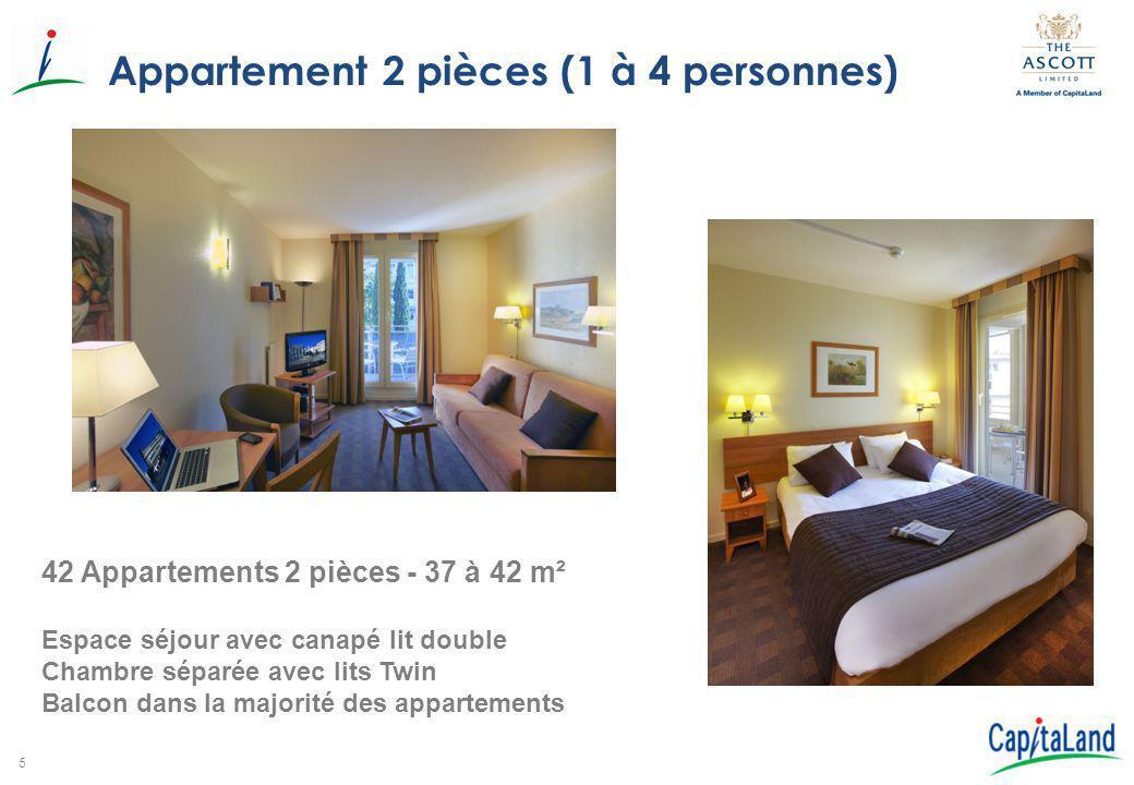 6 Appartement 3 pièces (1 à 6 personnes) 3 Appartements 3 pièces – 58 m² Espace séjour avec canapé lit double 1 Chambre avec lits Twin 1 Chambre avec lit double Balcon – Vue Jardin Cuisine Américaine