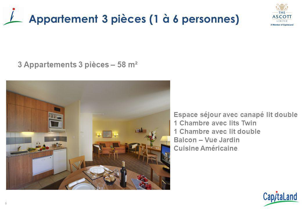 6 Appartement 3 pièces (1 à 6 personnes) 3 Appartements 3 pièces – 58 m² Espace séjour avec canapé lit double 1 Chambre avec lits Twin 1 Chambre avec