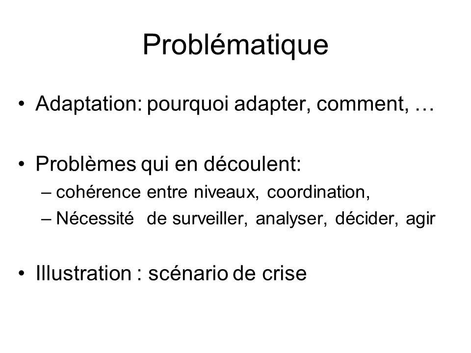 Problématique Adaptation: pourquoi adapter, comment, … Problèmes qui en découlent: –cohérence entre niveaux, coordination, –Nécessité de surveiller, analyser, décider, agir Illustration : scénario de crise