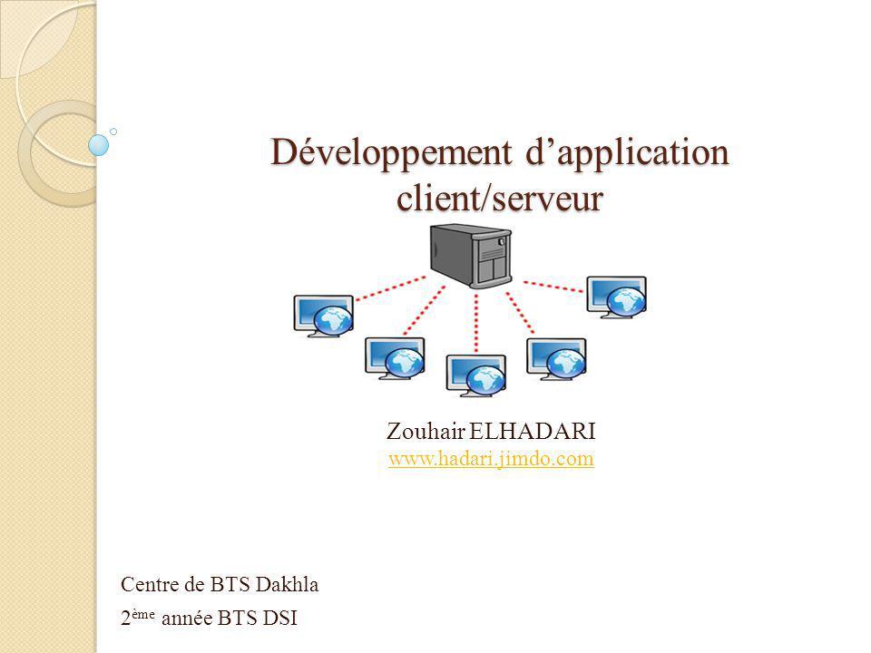Zouhair ELHADARI www.hadari.jimdo.com Centre de BTS Dakhla 2 ème année BTS DSI Développement d'application client/serveur