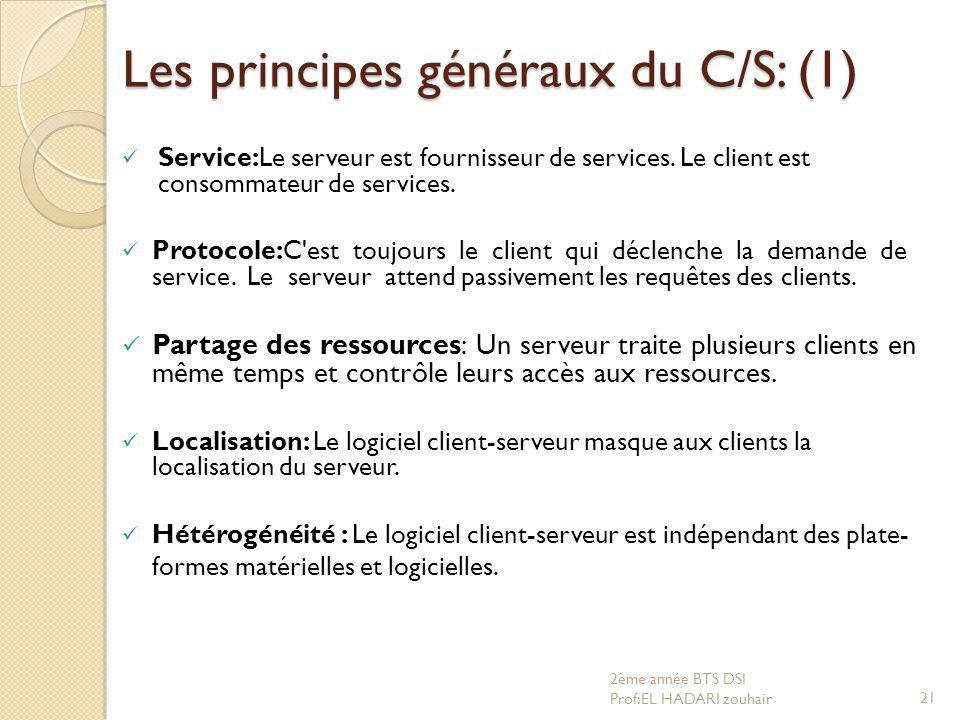 Les principes généraux du C/S: (1) Service:Le serveur est fournisseur de services. Le client est consommateur de services. Protocole:C'est toujours le