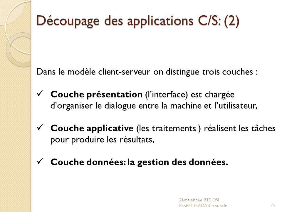 Découpage des applications C/S: (2) Dans le modèle client-serveur on distingue trois couches : Couche présentation (l'interface) est chargée d'organis