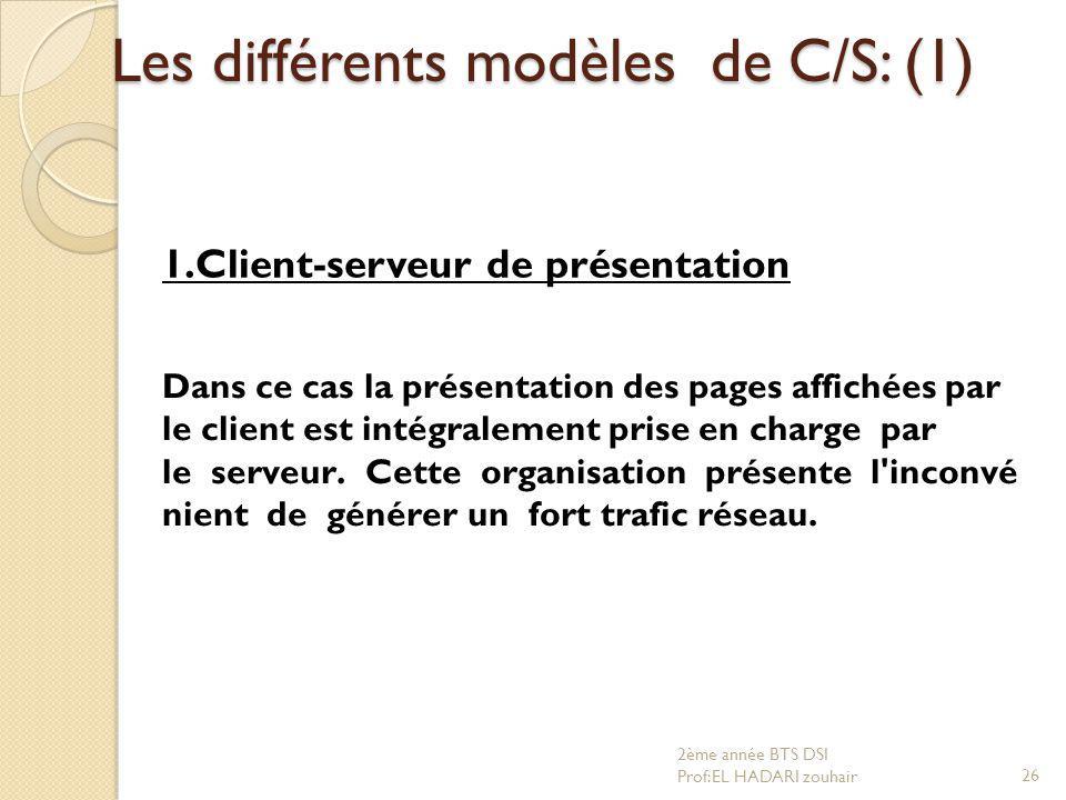 Les différents modèles de C/S: (1) Dans ce cas la présentation des pages affichées par le client est intégralement prise en charge par le serveur. Cet