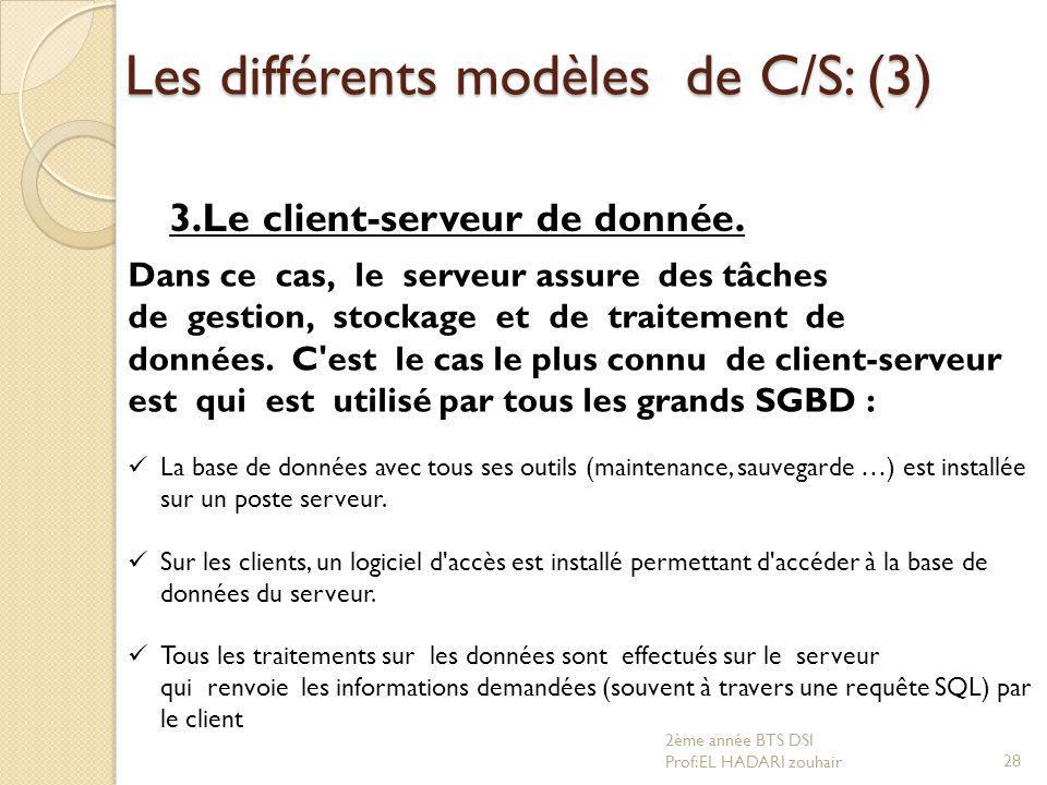 Les différents modèles de C/S: (3) 3.Le client-serveur de donnée. Dans ce cas, le serveur assure des tâches de gestion, stockage et de traitement de d