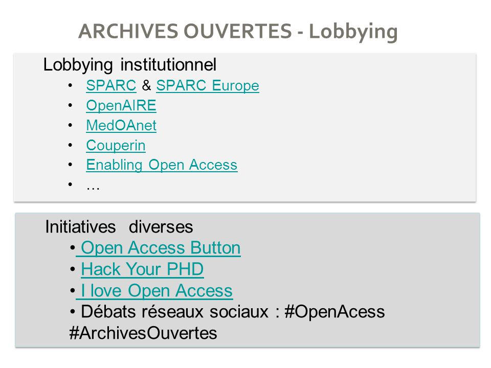 ARCHIVES OUVERTES - Lobbying Lobbying institutionnel SPARC & SPARC EuropeSPARCSPARC Europe OpenAIRE MedOAnet Couperin Enabling Open Access … Lobbying institutionnel SPARC & SPARC EuropeSPARCSPARC Europe OpenAIRE MedOAnet Couperin Enabling Open Access … Initiatives diverses Open Access Button Open Access Button Hack Your PHD I love Open Access Débats réseaux sociaux : #OpenAcess #ArchivesOuvertes Initiatives diverses Open Access Button Open Access Button Hack Your PHD I love Open Access Débats réseaux sociaux : #OpenAcess #ArchivesOuvertes