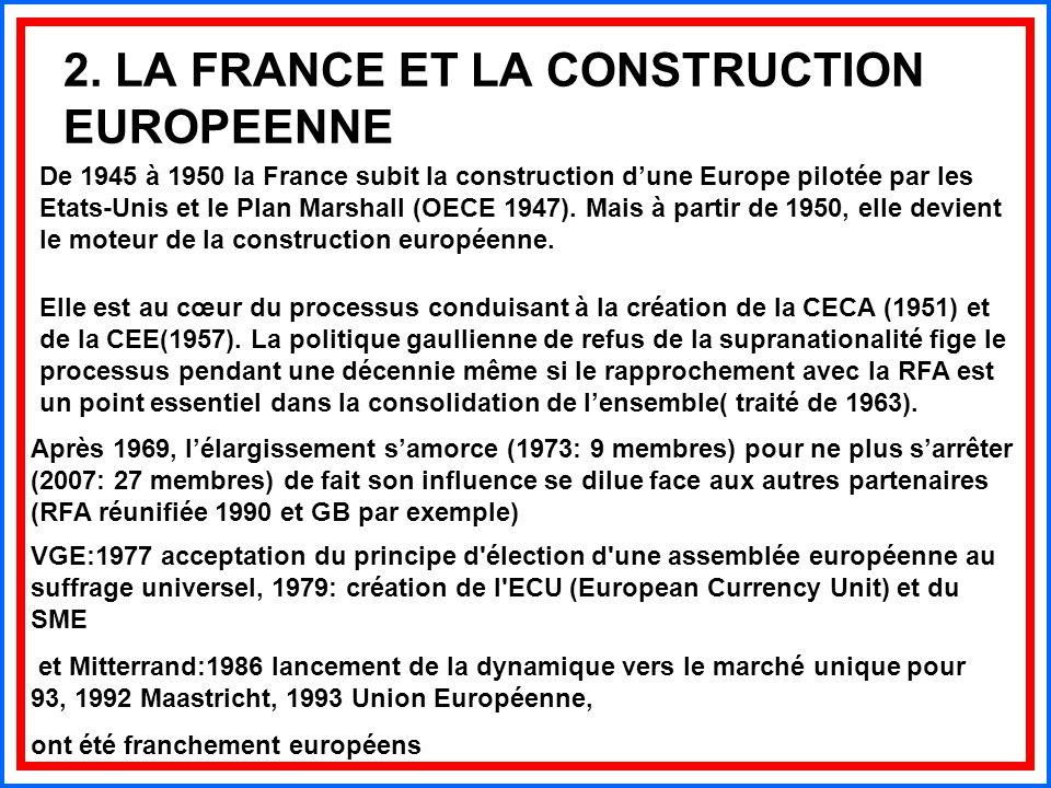 2. LA FRANCE ET LA CONSTRUCTION EUROPEENNE De 1945 à 1950 la France subit la construction d'une Europe pilotée par les Etats-Unis et le Plan Marshall