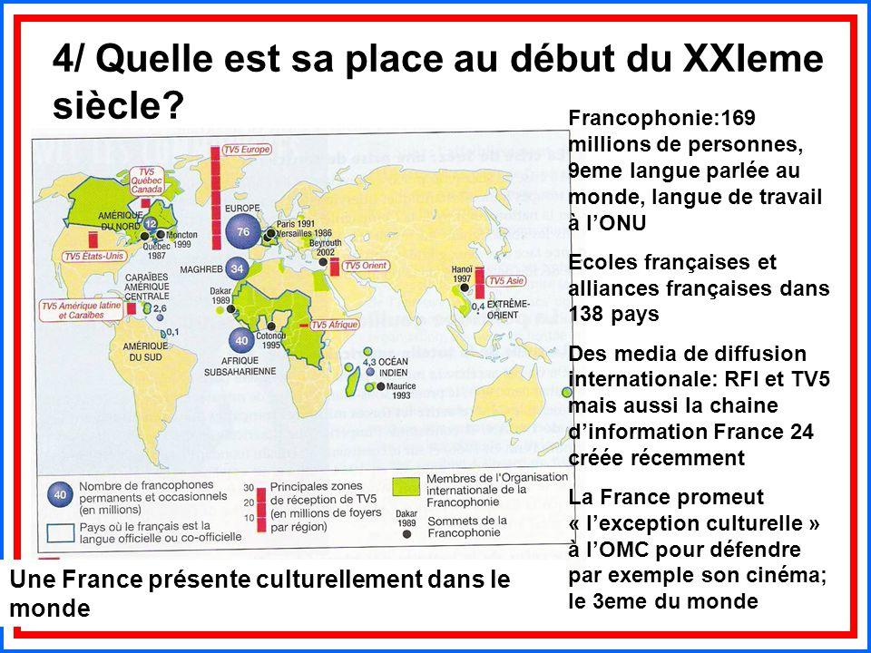 4/ Quelle est sa place au début du XXIeme siècle? Une France présente culturellement dans le monde Francophonie:169 millions de personnes, 9eme langue