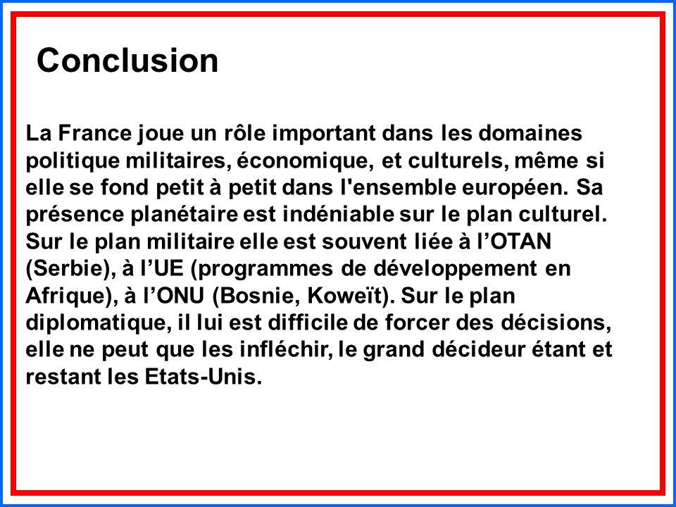 La France joue un rôle important dans les domaines politique militaires, économique, et culturels, même si elle se fond petit à petit dans l'ensemble