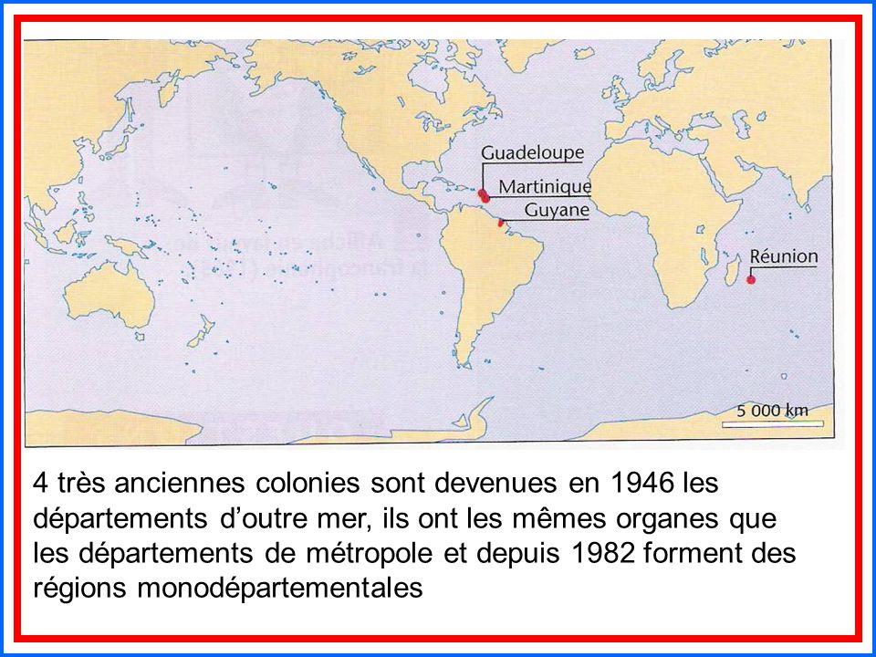 4 très anciennes colonies sont devenues en 1946 les départements d'outre mer, ils ont les mêmes organes que les départements de métropole et depuis 19