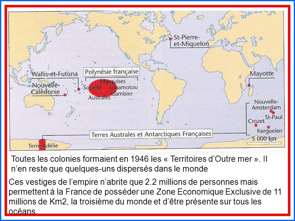Toutes les colonies formaient en 1946 les « Territoires d'Outre mer ». Il n'en reste que quelques-uns dispersés dans le monde Ces vestiges de l'empire