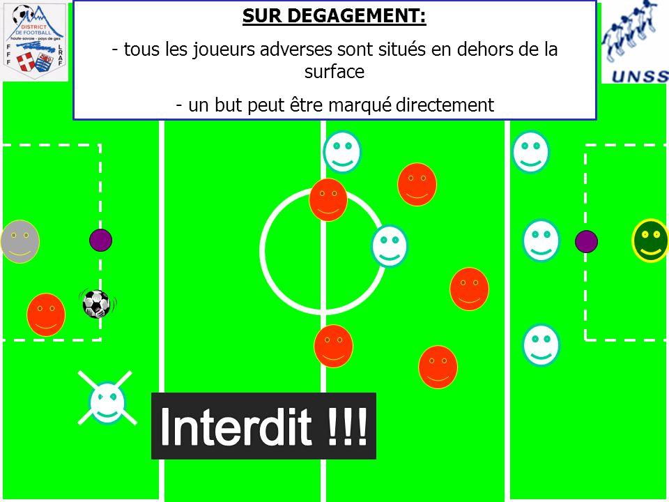 SUR DEGAGEMENT: - tous les joueurs adverses sont situés en dehors de la surface - un but peut être marqué directement