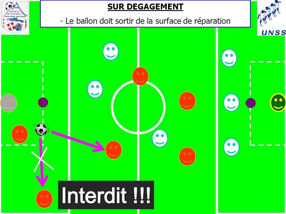 SUR DEGAGEMENT - Le ballon doit sortir de la surface de réparation