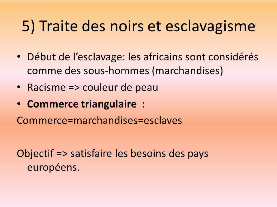5) Traite des noirs et esclavagisme Début de l'esclavage: les africains sont considérés comme des sous-hommes (marchandises) Racisme => couleur de peau Commerce triangulaire : Commerce=marchandises=esclaves Objectif => satisfaire les besoins des pays européens.