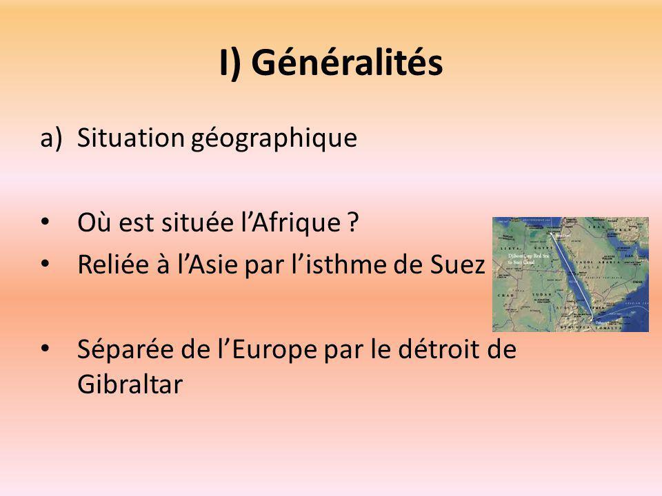 I) Généralités a)Situation géographique Où est située l'Afrique .