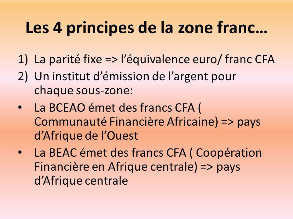 Les 4 principes de la zone franc… 1)La parité fixe => l'équivalence euro/ franc CFA 2)Un institut d'émission de l'argent pour chaque sous-zone: La BCEAO émet des francs CFA ( Communauté Financière Africaine) => pays d'Afrique de l'Ouest La BEAC émet des francs CFA ( Coopération Financière en Afrique centrale) => pays d'Afrique centrale