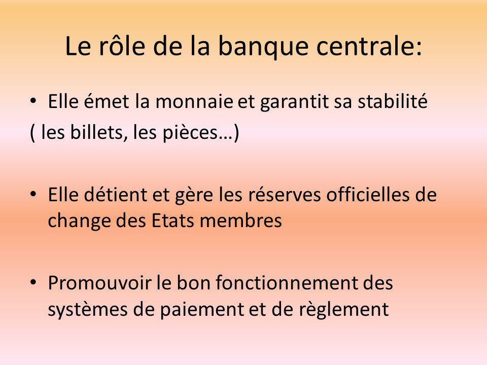 Le rôle de la banque centrale: Elle émet la monnaie et garantit sa stabilité ( les billets, les pièces…) Elle détient et gère les réserves officielles de change des Etats membres Promouvoir le bon fonctionnement des systèmes de paiement et de règlement