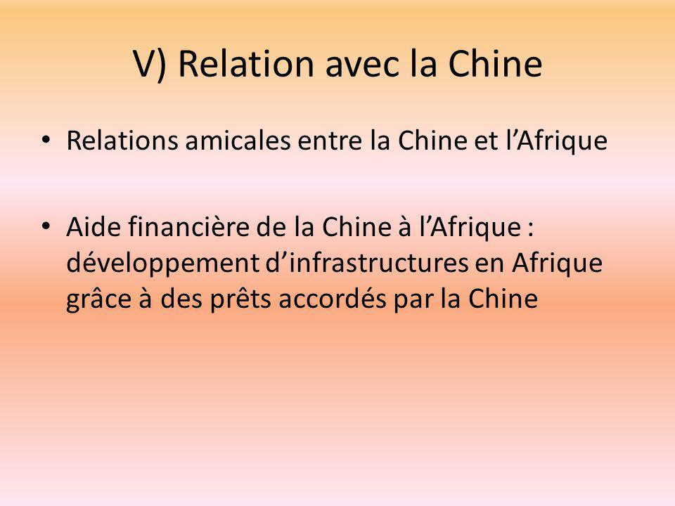 V) Relation avec la Chine Relations amicales entre la Chine et l'Afrique Aide financière de la Chine à l'Afrique : développement d'infrastructures en Afrique grâce à des prêts accordés par la Chine