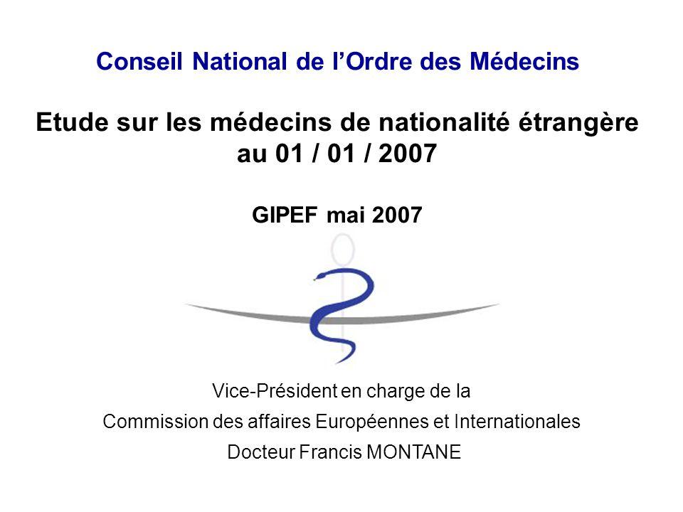 Conseil National de l'Ordre des Médecins Etude sur les médecins de nationalité étrangère au 01 / 01 / 2007 GIPEF mai 2007 Vice-Président en charge de la Commission des affaires Européennes et Internationales Docteur Francis MONTANE