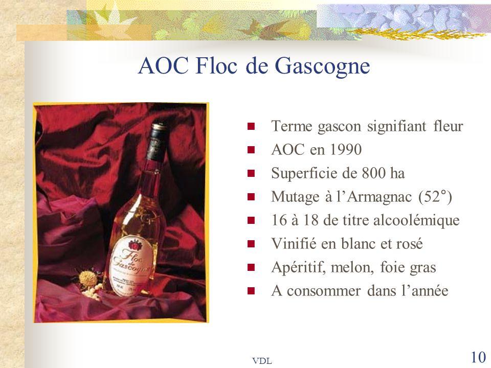 VDL 10 AOC Floc de Gascogne Terme gascon signifiant fleur AOC en 1990 Superficie de 800 ha Mutage à l'Armagnac (52°) 16 à 18 de titre alcoolémique Vin