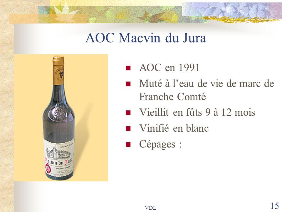 VDL 15 AOC Macvin du Jura AOC en 1991 Muté à l'eau de vie de marc de Franche Comté Vieillit en fûts 9 à 12 mois Vinifié en blanc Cépages :