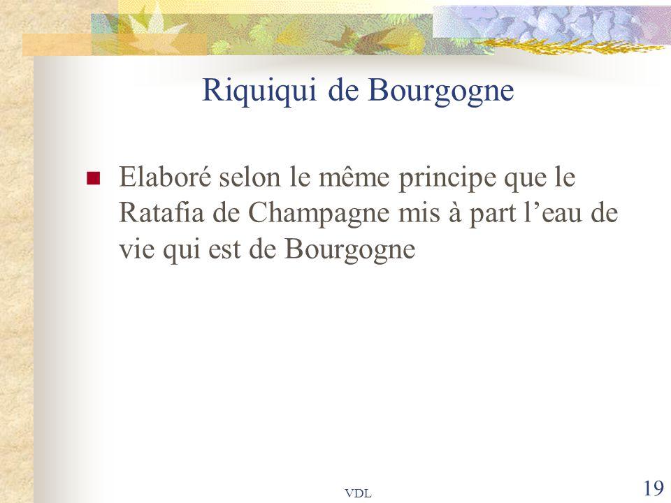VDL 19 Riquiqui de Bourgogne Elaboré selon le même principe que le Ratafia de Champagne mis à part l'eau de vie qui est de Bourgogne