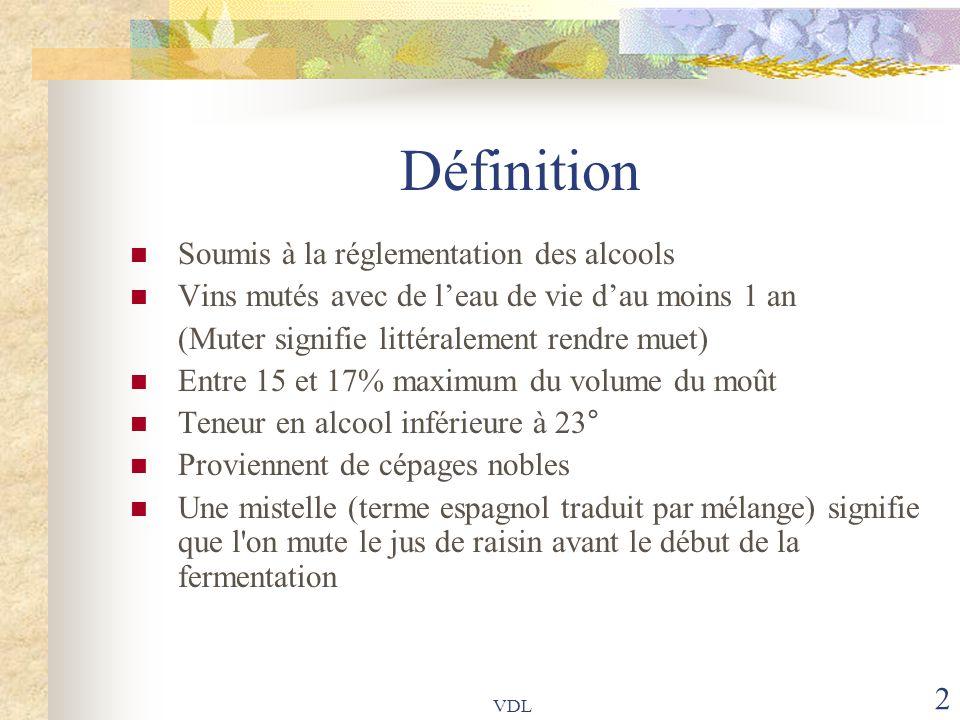 VDL 2 Définition Soumis à la réglementation des alcools Vins mutés avec de l'eau de vie d'au moins 1 an (Muter signifie littéralement rendre muet) Ent