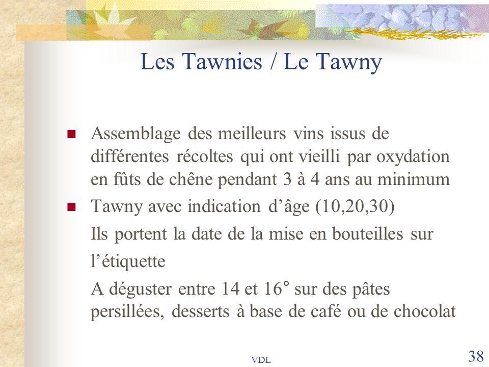 VDL 38 Les Tawnies / Le Tawny Assemblage des meilleurs vins issus de différentes récoltes qui ont vieilli par oxydation en fûts de chêne pendant 3 à 4