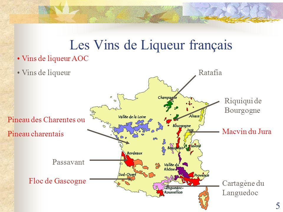 VDL 6 AOC Pineau des Charentes ou AOC Pineau charentais AOC en 1945 Superficie de 1500 ha Mutage avec ¼ de Cognac Moût avec 170 g/l de sucre Cognac d'un minimum de 60° 16 à 22 de titre alcoolémique Vinifié en blanc et rosé Apéritif, mouclade, foie gras