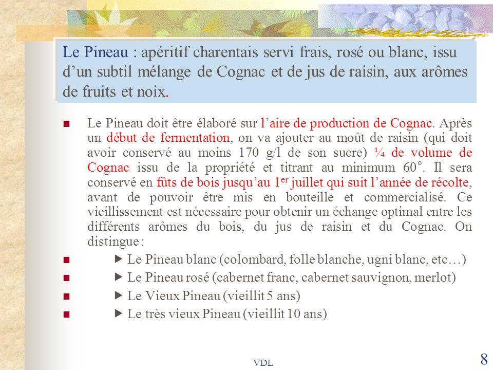 8 Le Pineau : apéritif charentais servi frais, rosé ou blanc, issu d'un subtil mélange de Cognac et de jus de raisin, aux arômes de fruits et noix. Le
