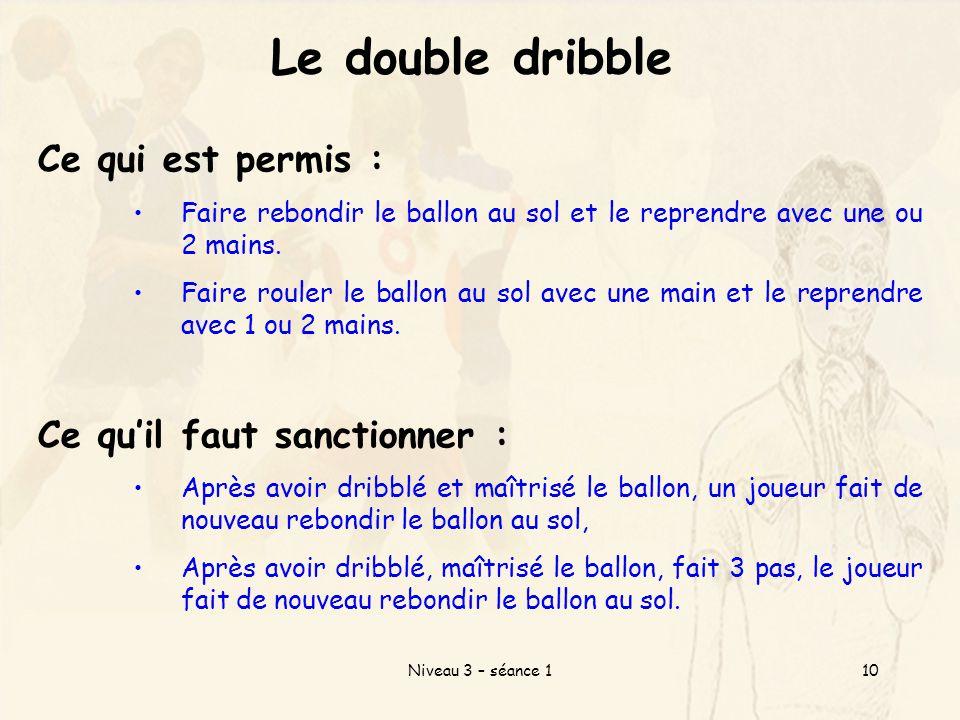 Niveau 3 – séance 110 Le double dribble Ce qui est permis : Faire rebondir le ballon au sol et le reprendre avec une ou 2 mains.