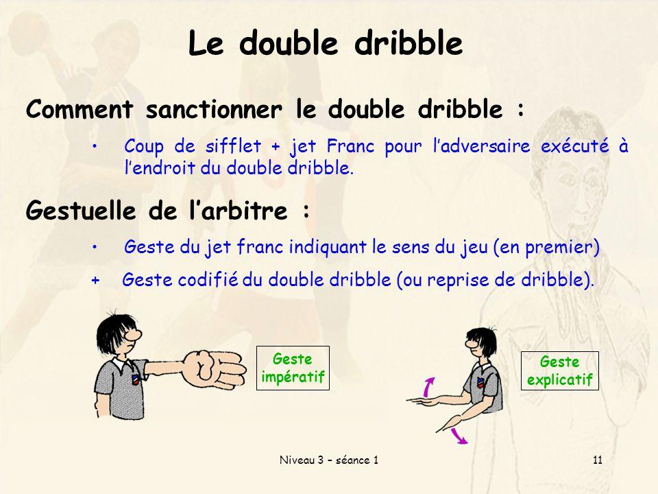 Niveau 3 – séance 111 Le double dribble Comment sanctionner le double dribble : Coup de sifflet + jet Franc pour l'adversaire exécuté à l'endroit du double dribble.
