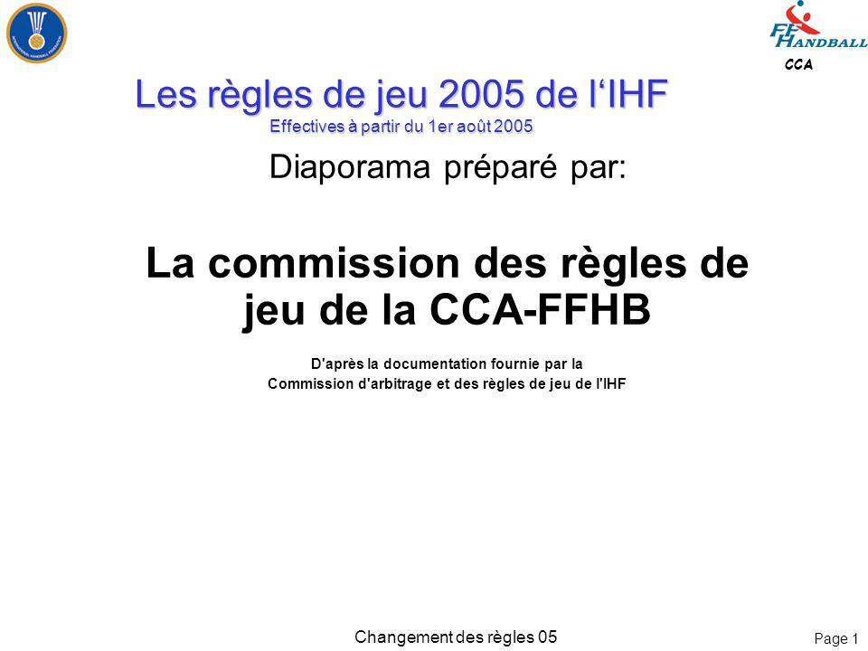 Page 1 CCA Changement des règles 05 Les règles de jeu 2005 de l'IHF Effectives à partir du 1er août 2005 Diaporama préparé par: La commission des règles de jeu de la CCA-FFHB D après la documentation fournie par la Commission d arbitrage et des règles de jeu de l IHF