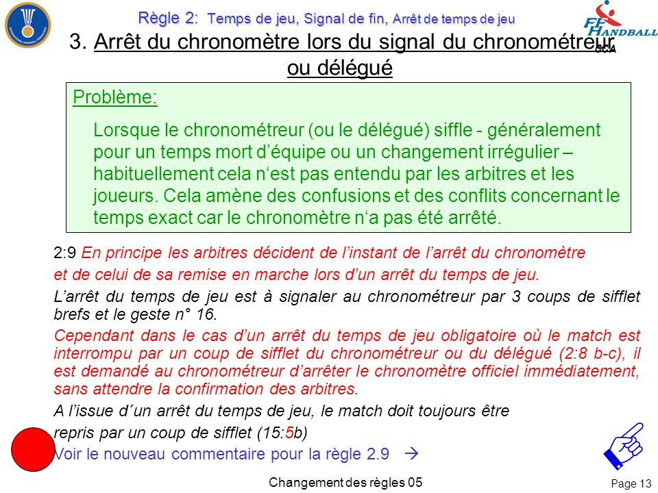 Page 12 CCA Changement des règles 05 Commentaire: Un coup de sifflet du chronométreur /délégué arrête le jeu de manière effective. Même si les arbitre